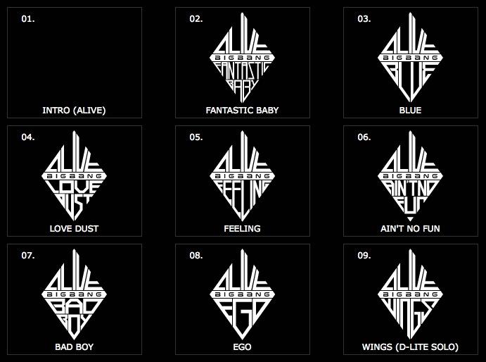 Updated Big Bang ALIVE Japanese Version Tracklist [NEWS]
